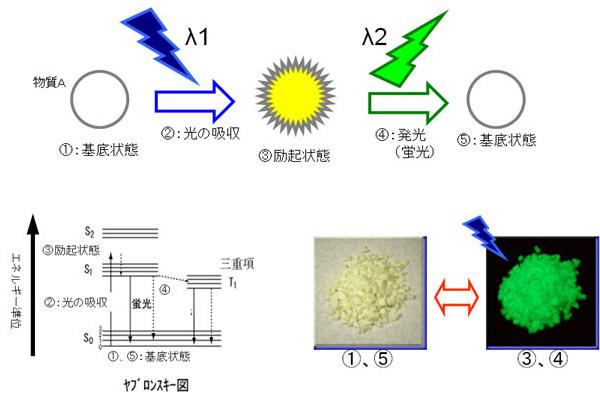 蛍光の原理をイメージ化した図